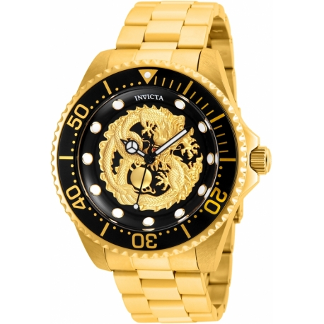 INVICTA PRO DIVER MENS AUTOMATIC 47MM GOLD CASE BLACK DIAL - MODEL 26490