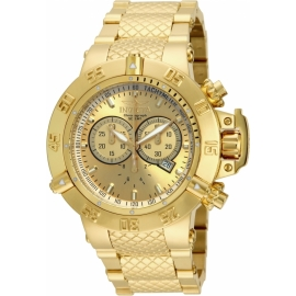 INVICTA SUBAQUA NOMA III MENS QUARTZ 50MM GOLD CASE STAINLESS STEEL DIAL MODEL - 14500