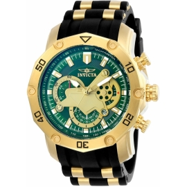 INVICTA 23425 PRO DIVER MENS QUARTZ 50MM GOLD CASE GREEN DIAL