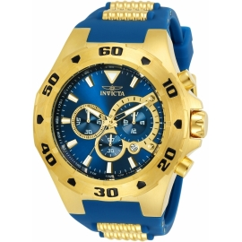 INVICTA 24681 PRO DIVER MENS QUARTZ 52MM GOLD CASE BLUE DIAL