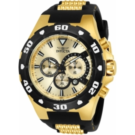 INVICTA 24682 PRO DIVER MENS QUARTZ 52MM GOLD CASE GOLD DIAL