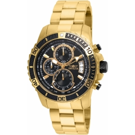 INVICTA PRO DIVER MEN'S QUARTZ GOLD CASE, BLACK DIAL - MODEL-22414