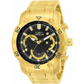 Invicta 22767 Pro Diver Mens Quartz 50mm Gold Case Black Dial