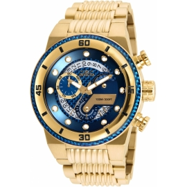 INVICTA 25281 S1 RALLY MENS QUARTZ 51MM GOLD CASE BLUE DIAL