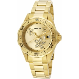 INVICTA PRO DIVER QUARTZ WATCH - GOLD, STAINLESS STEEL CASE WITH GOLD TONE STAINLESS STEEL BAND - MODEL 12508