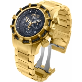 INVICTA BOLT QUARTZ WATCH - GOLD, BLACK CASE WITH GOLD TONE STAINLESS STEEL BAND - MODEL 19522