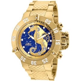 Invicta Men's 26230 Subaqua Quartz 3 Hand Blue, Gold Dial Watch