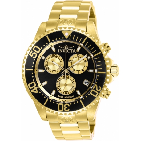 9be9acefc Invicta 26848 Men's Pro Diver Quartz Chronograph Black, Gold Dial Watch