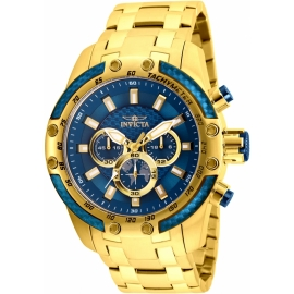 Invicta 25945 Speedway SCUBA Mens Quartz 50mm Gold Case Blue Dial