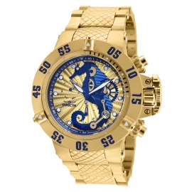 INVICTA 26231 SUBAQUA MENS QUARTZ 50MM GOLD CASE BLUE, GOLD DIAL