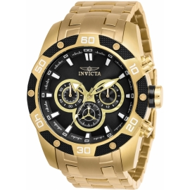 Invicta 25840 Speedway Mens Quartz 48mm Gold Case Black Dial