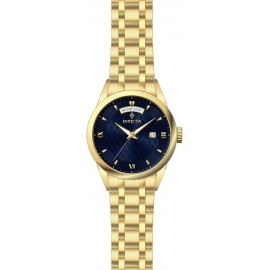 INVICTA 24307 VINTAGE MENS QUARTZ 40MM GOLD CASE NAVY BLUE DIAL
