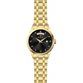 INVICTA  MODEL 24304 VINTAGE WOMENS QUARTZ 40MM GOLD CASE BLACK DIAL -