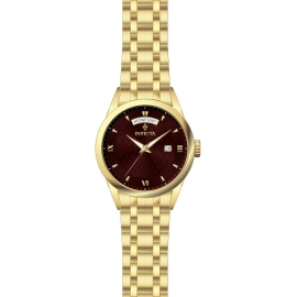 INVICTA MODEL 24305 VINTAGE WOMENS QUARTZ 40MM GOLD CASE DARK RED DIAL -
