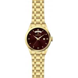 INVICTA MODEL 24305 VINTAGE WOMENS QUARTZ 40MM GOLD CASE DARK RED DIAL -