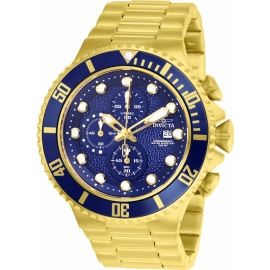 INVICTA MODEL 25297 PRO DIVER MENS QUARTZ 50MM GOLD, BLUE CASE BLUE DIAL -