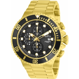INVICTA MODEL 25298 PRO DIVER MENS QUARTZ 50MM GOLD, BLACK CASE BLACK DIAL -