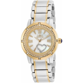 Invicta 16707 Women's Angel MOP Dial Two Tone Yellow Gold Steel Crystal Watch