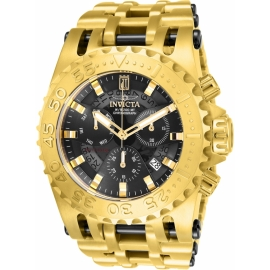 INVICTA   MODEL 26416 JASON TAYLOR MENS QUARTZ 50MM GOLD, BLACK CASE BLACK DIAL -