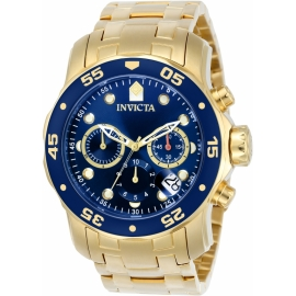 INVICTA MODEL 0073 PRO DIVER MOVEMENT QUARTZ WATCH - GOLD CASE WITH GOLD TONE STAINLESS STEEL BAND -