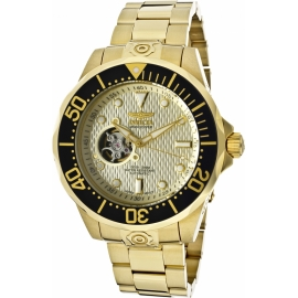 INVICTA PRO DIVER AUTOMATIC WATCH - GOLD CASE WITH GOLD TONE STAINLESS STEEL BAND -