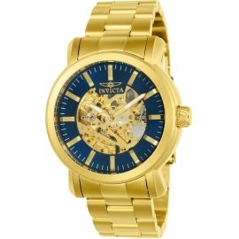 INVICTA VINTAGE MENS AUTOMATIC 45MM GOLD CASE BLUE DIAL - MODEL 22575