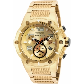INVICTA SPEEDWAY SWISS MOVEMENT QUARTZ WATCH - GOLD CASE WITH GOLD TONE STAINLESS STEEL BAND - MODEL 19529