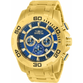 Invicta Model 22321 Pro Diver SCUBA Mens Quartz 50mm Gold Case Blue Dial -