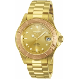 INVICTA MODEL 13930 PRO DIVER AUTOMATIC WATCH - GOLD, ROSE GOLD CASE WITH GOLD TONE STAINLESS STEEL BAND -
