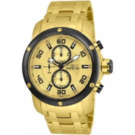 INVICTA MODEL 24155 PRO DIVER MENS QUARTZ 48MM GOLD CASE GOLD DIAL -