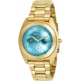 INVICTA MODEL 23753 ANGEL WOMENS QUARTZ 38.5MM GOLD CASE LIGHT BLUE DIAL -