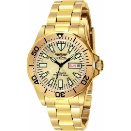 INVICTA MODEL 7047 SIGNATURE AUTOMATIC WATCH - GOLD CASE WITH GOLD TONE STAINLESS STEEL BAND -