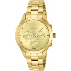 INVICTA MODEL 12466 ANGEL WOMEN'S QUARTZ WATCH - GOLD CASE WITH GOLD TONE STAINLESS STEEL BAND -